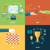 Icons for education, work, strategy, victory. Icons for education, work, strategy, victory and business tools. Concept of different icons in flat design Royalty Free Stock Photos