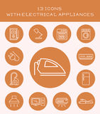 13 icons with electrical appliances. Set of icons with various household electrical appliances Stock Photo