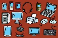 Icons - Electronics. Vector illustration of hand drawn electronics symbols Stock Images