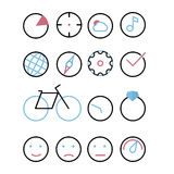 Icons with element - circle. Chart, sight, cloud and sun, music, earth, compass, cog, tick, bicycle, watch, ring with Briliant, em Stock Image