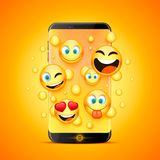 Icons for emoji from the phone. stock illustration