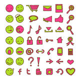 Icons and emoticons Stock Images