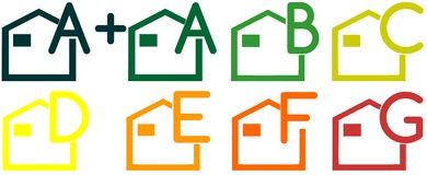 Icons of energetic classification of houses. Image representing the energetic classification of houses, an ideal project for real estate business (websites or Stock Photos