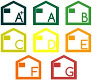 Icons of energetic classification of houses isolated Stock Image
