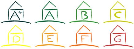 Icons of energetic classification of houses Royalty Free Stock Image