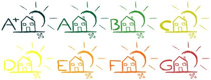 Icons of energetic classification of houses Royalty Free Stock Photography