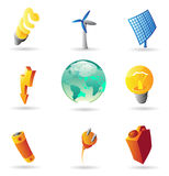Icons for energy and ecology. Vector illustration stock illustration