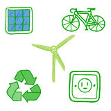 Icons : Energy Saving  isolated on white Royalty Free Stock Photos