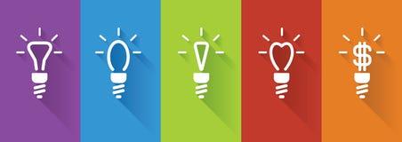 Icons of energy saving lamp Stock Photos