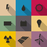 Icons energy vector illustration. Stock Photos
