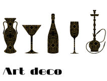 Icons with engraving. Gold ornament on a black background. Wineglass, vase, bottle of champagne, stakes. In the style of Art Deco. Royalty Free Stock Photography