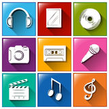 Icons with entertainment gadgets Stock Photography