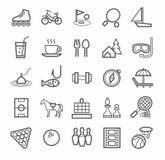 Icons entertainment, leisure, outline, white background. Stock Photos