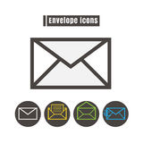 Icons envelope colour vector on white background Royalty Free Stock Image