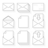 Icons envelopes and paper. Royalty Free Stock Images