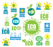 Icons on environment and alternative energy Royalty Free Stock Photography