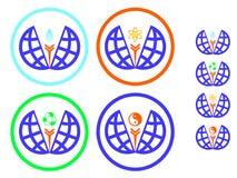 Icons environmental protection and recycling, symbol yin yang Royalty Free Stock Images