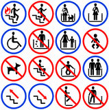 Icons for escalators and stairs in the shop Stock Image