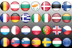 Icons of Europe member states. Illustration of Icons of Europe member states on a gradient backgrpund Royalty Free Stock Image