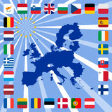 27 icons of european union with map. Vector illustration of 27 icons of european union with map Stock Photo