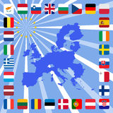 28 icons of european union with map Royalty Free Stock Photos