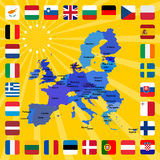 28 icons of european union with map Stock Images