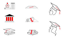 Icons exams students. Examinations and the University. vector. Stock Photography