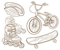 Icons for extreme skiing. ( illustration Stock Image