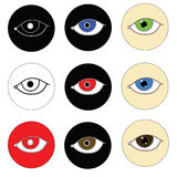 Icons eyes on white. Raster Royalty Free Stock Image