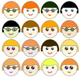 Icons faces Raster 1 Raster Royalty Free Stock Image