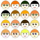 Icons faces Raster 1 Raster. Icons faces Raster Raster 12 Royalty Free Stock Image