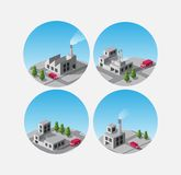 Icons with factories and plants Stock Photography