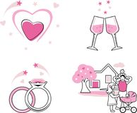 Icons for a family scrapbook stock images