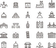 Icons of famous monuments. Black outline icons relating to famous monuments around the world Royalty Free Stock Photos