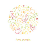 Icons of farm animals arranged in a circle Stock Photo