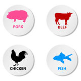 Icons for farm animals. Illustration of four icons including pig, cow, chicken and fish Royalty Free Stock Photo