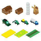 Icons of farm buildings and agricultural machinery Royalty Free Stock Images