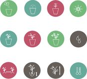 Icons of farming cultivation of seeds and plants, line style Stock Images