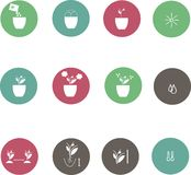 Icons of farming cultivation of seeds and plants. White mark on a cool pastel background, circles Royalty Free Stock Photo