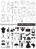 Icons of fashion and beauty. Linear icons and black on white background on fashion and beauty, clothing Royalty Free Stock Images