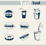 Icons fast food Stock Images