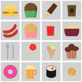 Icons fast food. Colored vector buttons. Royalty Free Stock Photography
