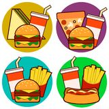 Icons of fast food combos, Set contains hot dog, hamburger and sandwich with fries and soda. Vector illustration royalty free illustration