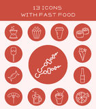 13 icons with fast food. Set of icons with fast food and drinks Stock Illustration