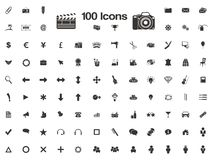 100 icons - favicon. 100 icons suitable for user interface or favicon Stock Illustration