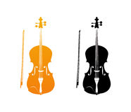 Icons of Fiddle in Golden and Black colors. Orchestra Violin Music Instrument in Vertical Pose, Vector Illustration Isolated on White Background Stock Photo