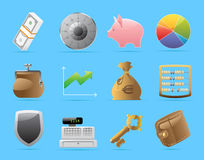 Icons for finance, money and security Royalty Free Stock Images