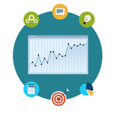 Icons of financial analytics, charts and graphs. Vector icons of financial analytics, charts and graphs of growth Stock Images