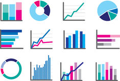Icons of financial data money or performance graphs Stock Photo