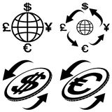 Icons of financial symbols. The  abstract image icons financial symbols Stock Images